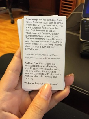 Zaria Fierce Biz cards back