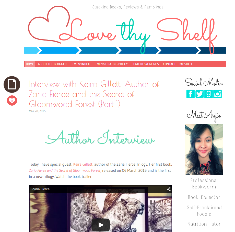 Keira Gillett Interview with Anjie of Love Thy Shelf