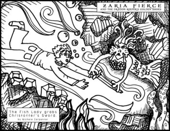 New Coloring Page: Christoffer and the Fish Lady