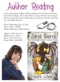 Book Reading: Zaria Fierce and the Dragon Keeper's Golden Shoes on July 13, 2016